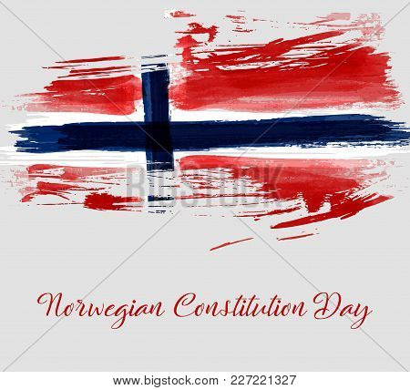 Norwegian Constitution Day Holiday Background. Grunge Watercolored Flag Of Norway. Template For  Hol