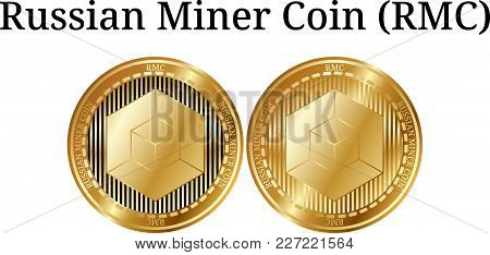 Set Of Physical Golden Coin Russian Miner Coin (rmc), Digital Cryptocurrency. Russian Miner Coin (rm