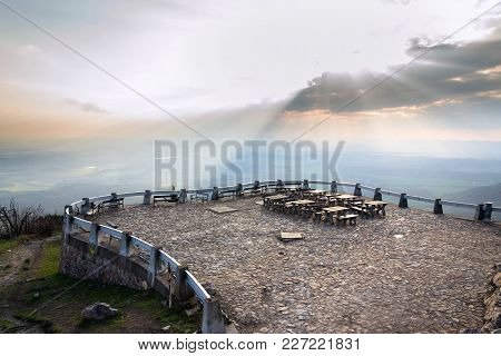 Romantic Sunset From Outlook View With Tables And Benches In Front Of Jested Tower, Liberec, Czech R