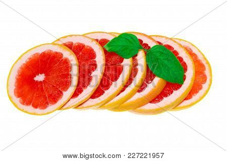Grapefruit Isolated, Grapefruits. Healhy Grapefruit With A Leaves.