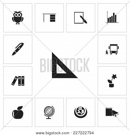 Set Of 13 Editable Teach Icons. Includes Symbols Such As Chart, Wreath, Sphere And More. Can Be Used