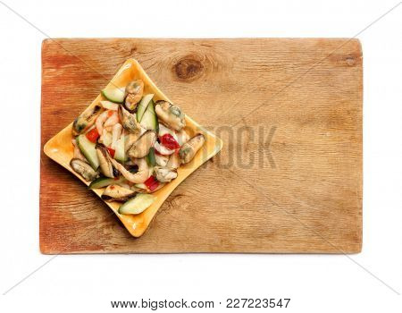 Seafood salad with shrimps and cucumbers