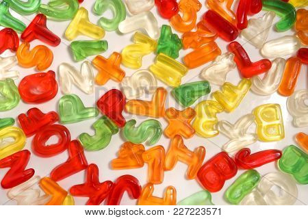 Gelatin candies. Alphabet.