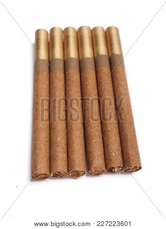Cigars. Gold cigar on white background