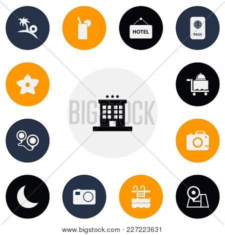 Set Of 13 Editable Travel Icons. Includes Symbols Such As Camera, Moon, Hotel Banner And More. Can B