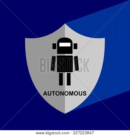 Shield Icon With Long Shadow - Autonomous. Block Chain Icon. Vector Graphic Illustration.