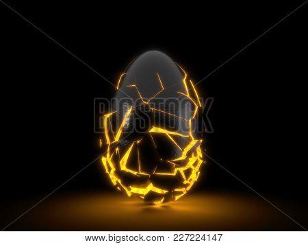 Fractured Black Egg In The Dark. 3d Illustration. Orange Glowing Inside.