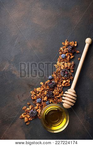 Healthy Homemade Granola With Honey. Top View