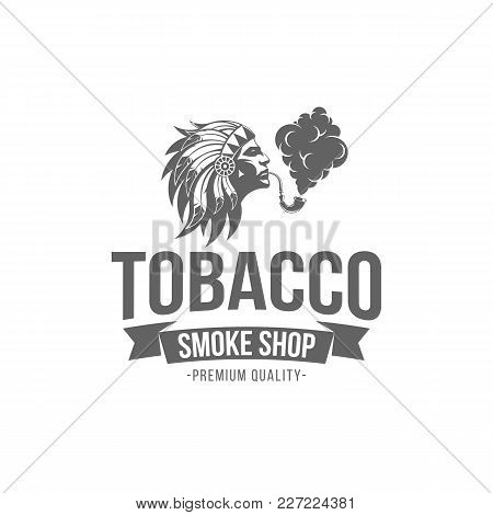 Vector Illustration Badge Tobacco Isolated Of Vintage Monochrome Style For Advertising And Web Desig
