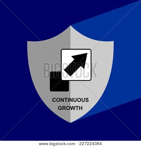 Shield Icon With Long Shadow -continuous Growth. Block Chain Icon. Vector Graphic Illustration.