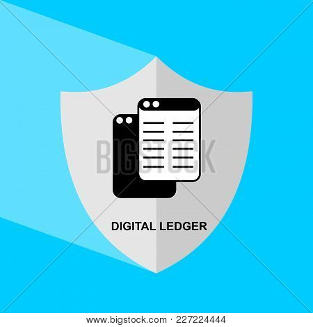 Shield Icon With Long Shadow - Digital Ledger. Block Chain Icon. Vector Graphic Illustration.