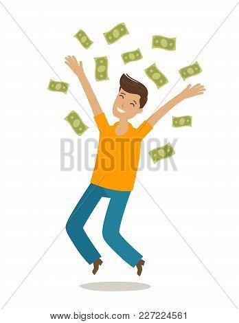 Successful Rich Man. Money, Cash Winnings, Jackpot Concept. Cartoon Vector Illustration In Flat Styl