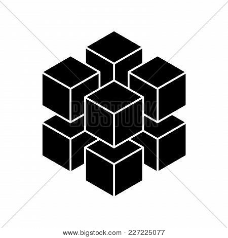 Black Geometric Cube Of 8 Smaller Isometric Cubes. Abstract Design Element. Science Or Construction