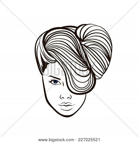 Beautiful Woman Face In Cotour, Vector Hairstyle Promo Banner