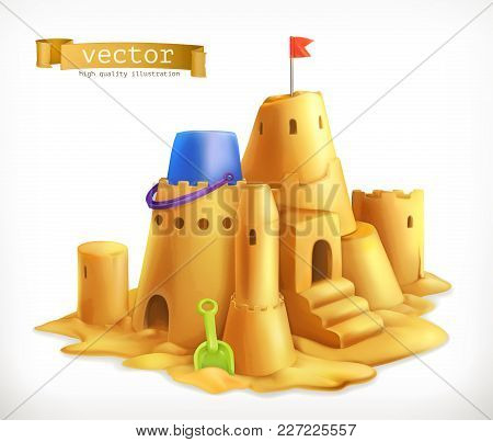 Sand Play, Sandcastle 3d Vector Icon On White Background