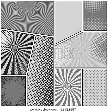 Comic Book Page Background With Radial Dotted Rays Halftone Humor Effects In Gray Colors. Pop-art St