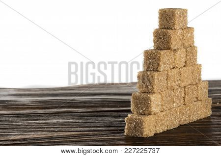 Brown And White Sugar Cubes, Isolated On White With Clipping Path.