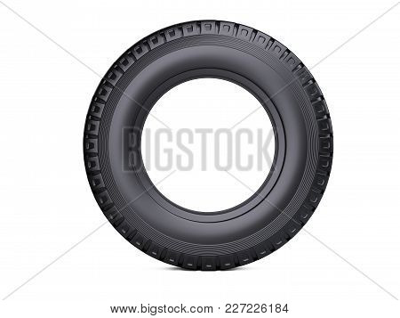 New Vehicle Truck Tire. Big Car Wheel - Front View. 3d Illustration Over White Background.