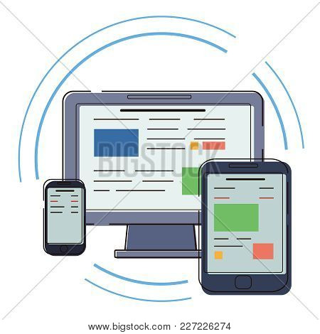 Modern Electronic Devices. Flat Style Set Of Lpc, Tablet And Phone. Vector Icon For Websites And Mob