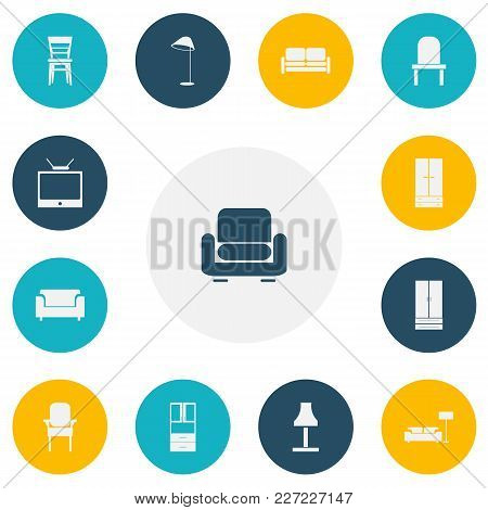Set Of 13 Editable Furniture Icons. Includes Symbols Such As Glim, Couch, Wardrobe And More. Can Be