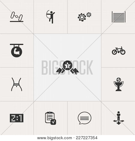 Set Of 13 Editable Mixed Icons. Includes Symbols Such As Gear, Barbell, Archer And More. Can Be Used