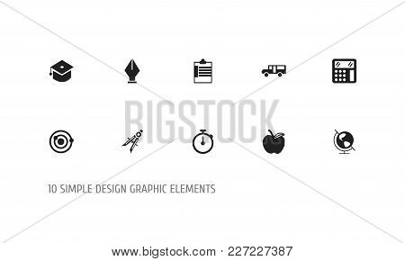 Set Of 10 Editable Knowledge Icons. Includes Symbols Such As Apple, Calculate, Orbit And More. Can B