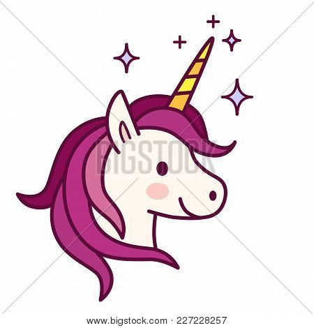 Cute Unicorn With Pink Mane Vector Illustration. Simple Flat Line Doodle Icon Contemporary Style Des