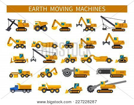 Earthmoving Machines. Construction Machinery Icons Set. Earth Mover Vehicles Types. Vector Silhouett