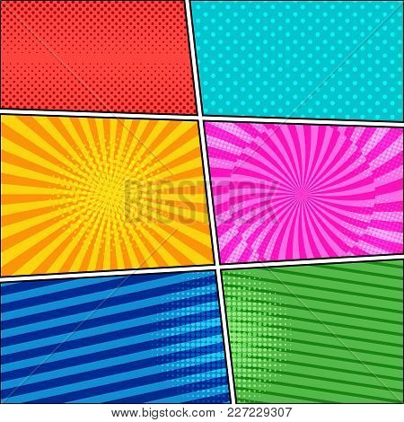 Comic Book Bright Vivid Background With Halftone Dotted Radial Striped Effects In Different Colors I