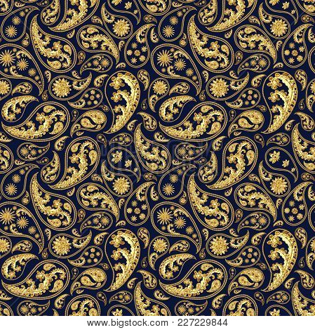 Paisley Gold And Deep Blue Seamless Pattern. Hand Drawn Golden Traditional Asian Ethnic Oriental Ara