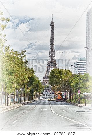View Of The Streets Of Paris At Sunny Day.