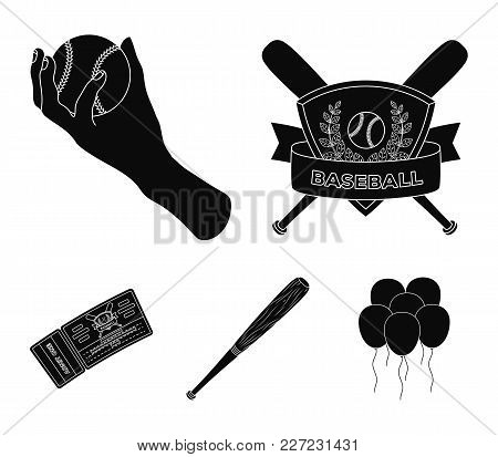 Club Emblem, Bat, Ball In Hand, Ticket To Match. Baseball Set Collection Icons In Black Style Vector
