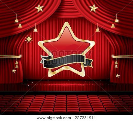 Red Stage Curtain with Star, Seats and Copy Space. Theater, Opera or Cinema Scene. Light on a Floor.