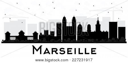 Marseille France City Skyline Black and White Silhouette. Simple Flat Concept for Tourism Presentation, Placard. Business Travel Concept. Marseille Cityscape with Landmarks.