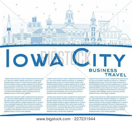 Outline Iowa City Skyline with Blue Buildings and Copy Space. Business Travel and Tourism Illustration with Historic Architecture.