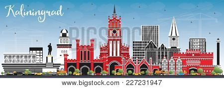 Kaliningrad Russia City Skyline with Color Buildings and Blue Sky. Business Travel and Tourism Concept with Historic Architecture. Kaliningrad Cityscape with Landmarks.
