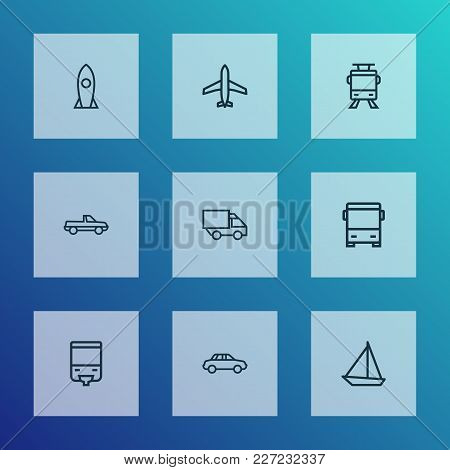 Transport Icons Line Style Set With Auto, Plane, Monorail And Other Tram Elements. Isolated Vector I