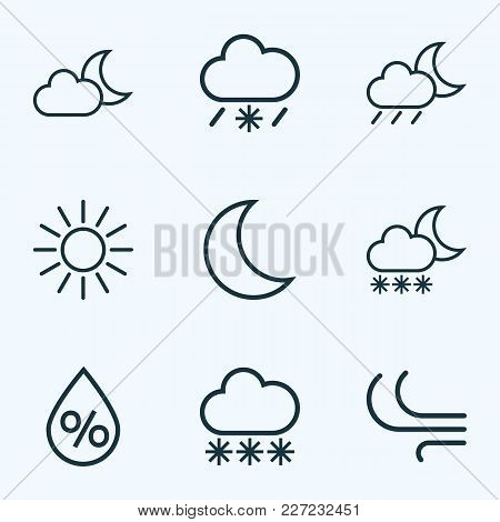 Climate Icons Line Style Set With Sunshine, Snowfall, Wind And Other Breeze Elements. Isolated Vecto