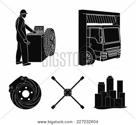 Wheel Balancing, Spanner And Brake Disc Black Icons In Set Collection For Design.car Maintenance Sta