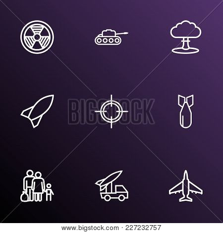 Battle Icons Line Style Set With Fighter, Refugee, Tank And Other Panzer  Elements. Isolated Vector
