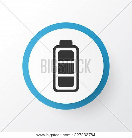 Battery Indicator Icon Symbol. Premium Quality Isolated Accumulator Sign Element In Trendy Style.