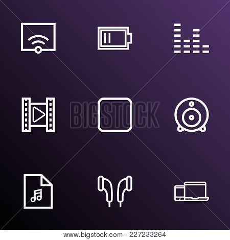 Media Icons Line Style Set With Web Cam, Gadget, Low Battery And Other Charge Elements. Isolated Vec