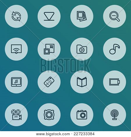 Media Icons Line Style Set With Broadcast, Musical Note, Speaker And Other Media Folder Elements. Is