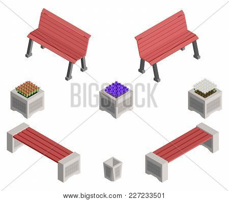 Isometric Benches And Flower Beds With Flowers Vector