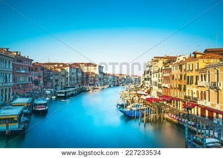 Venice Grand Canal Or Canal Grande, View From Rialto Bridge. Long Exposure. Italy, Europe