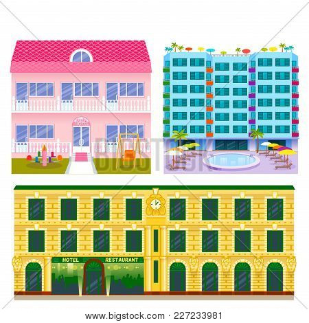 Hotels Buildings Tourist Travelers Places Modern City Vacation Time Home Apartment Urban Town Facade