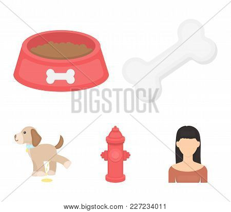 A Bone, A Fire Hydrant, A Bowl Of Food, A Pissing Dog.dog Set Collection Icons In Cartoon Style Vect