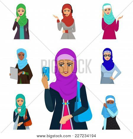 Arabic Woman Character Arabian Asia Nationality Islamic Girl Vector Illustration. Cute Arabic Girl T