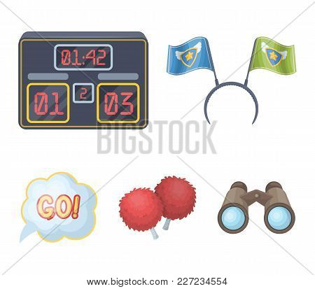 Hoop With Flags And Other Attributes Of The Fans.fans Set Collection Icons In Cartoon Style Vector S