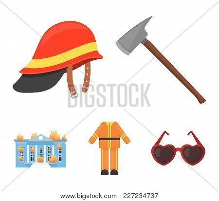 Ax, Helmet, Uniform, Burning Building. Fire Departmentset Set Collection Icons In Cartoon Style Vect